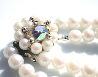 Bridal Pearl Necklace and Earring Set - Eco Bride. OOAK. Recycled beads.
