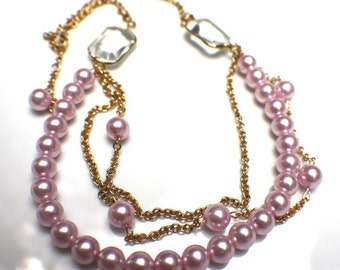 Pink Pearls Gold Chain Necklace and Earrings Set. OOAK. Upcycled Beads. Eco Jewelry