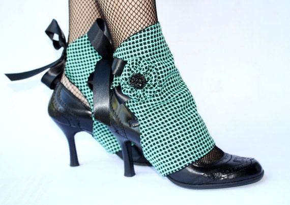 Houndstooth Mint Green & Black Spats. Handmade. OOAK.