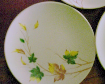 Fall Leaves Melmac Saucers - Mallo-Belle - Set of 7 -   Vintage