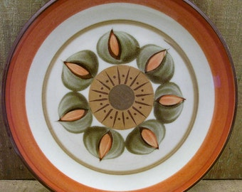 "Salad Plate - 8.25"" Premiere Durastone Melba P9251 - Earthy Browns, Orange, Greens"