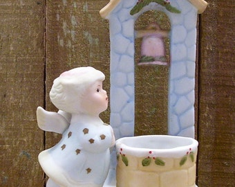 Vintage W.A. copyright 1983 Ceramic Angel Beside Well Candle Cup - Christmas