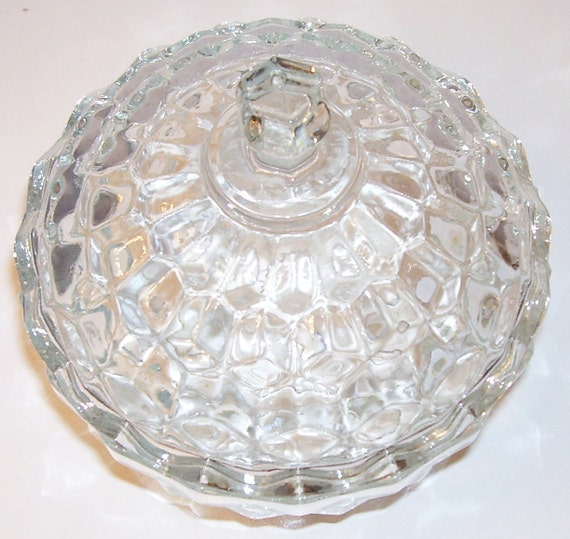 "Clear Cut-Glass Candy Dish With Lid - 5.5"" - Zig-Zag Edges at Rims -   Vintage"