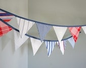 Patriotic Bunting Banner / Nautical Pennant Flag Garland / Fourth of July Independence Day Memorial Day / Red White Blue / Vintage Nursery
