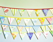 Colorful Vintage Mix Fabric Flag Bunting Banner / Nursery Decoration / Garden Tea Party / Rustic Barn Wedding / Shabby Chic / Photo Prop