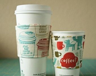 Coffee Cozy, Fabric Cup Sleeve - To Go Cup Sleeve - One Size Fits All - Set of Two - Reversible - No Buttons, Velcro, Snaps or Tags
