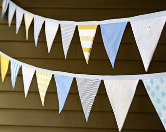 Blue and Yellow Bunting / Baby Boy Vintage Nursery Decor / Bunting / Fabric Flag Garland / Boy Baby Shower / Birthday Party Decoration