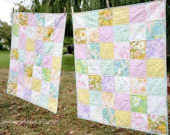 Vintage Sheet Quilt Set - Twins Baby Quilts - Lap Quilt - Custom Baby Quilts - Handmade - Baby Girl - Baby Boy - Baby Gift - Nursery Decor