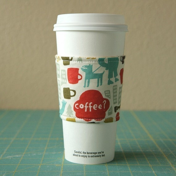 Coffee Cozy, Fabric Cup Holder, Cup Sleeve - Reversible