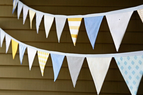 Baby Boy Bunting / Nursery Decoration / Fabric Bunting Banner / Birthday Party Decoration / Blue Gray Yellow / Cake Smash Photo Prop