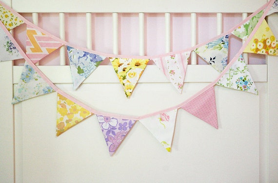 Sweet Spring Bunting Banner / Fabric Flag Garland / Nursery Baby Girl Shower Decoration /Vintage Sheets Shabby Chic / Garden Tea Party