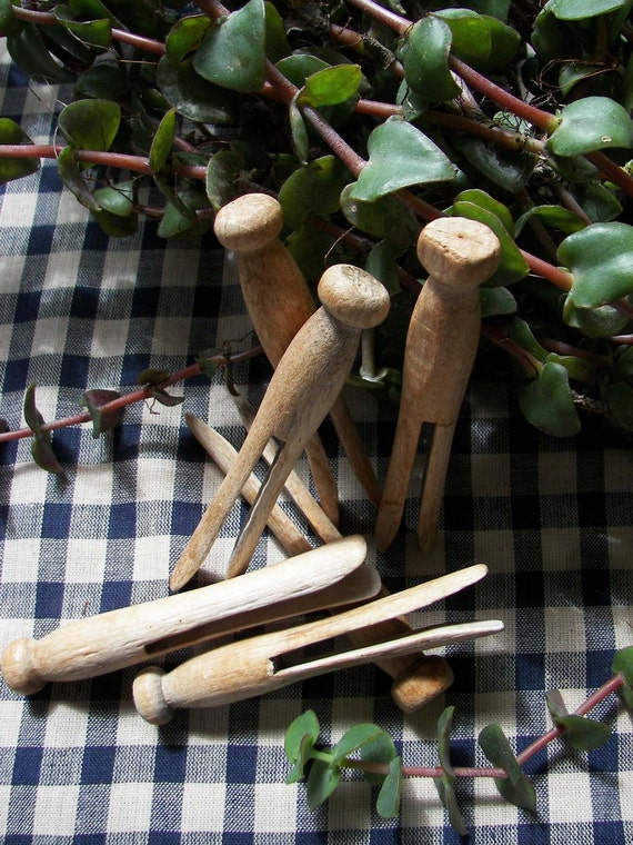 Wooden Clothes pins of old round headed