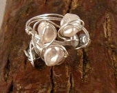 Sea of Pearls cluster wire wrapped ring cream silver Keshi pearls on sterling silver