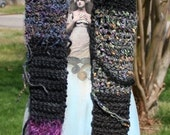 Hand Crocheted Scarf - Chunky Squares of Purple Lavender Black