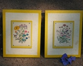 Gorgeous Pair of Midcentury Modern Yellow Floral Wall Hangings handcrafted by Jem Co., Atlanta, GA
