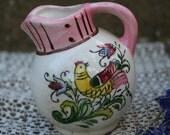 Tiny Vintage Ceramic Pitcher Pink Cream Yellow Green Bird Bud Vase Shabby