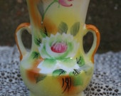 Hand Painted Yellow Orange and Green Vintage Water Lily Japanese Vase