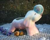 Precious Baby Pink and Blue Vintage Shawnee Elephant Planter Raised Trunk Nursery Decor