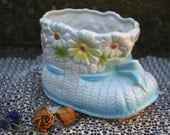 Vintage Relpo Baby Bootie Shoe Blue and White with Daisies Nursery Planter Organizer