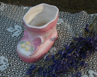 Pink and White Vintage Dickson Baby Bootie Shoe Planter Nursery Organizer