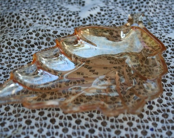 Iridescent Peach Gold Vintage Carnival Glass Leaf Dish Mid Century