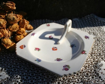 Lovely Square Cream Floral Dish with Handle Vintage Ceramic Made in Japan Rust Purple Burgundy Violet  Flowers