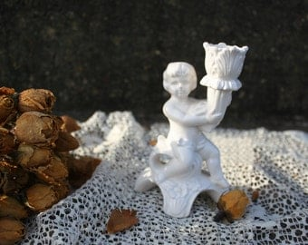 Old Japan Vintage Cherub Petite Candle Holder Shabby Cottage French Country Mismatched Place Setting Figurine