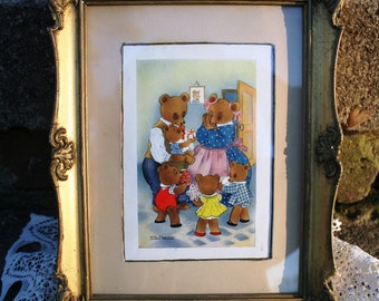 Willy Schermele Vintage Framed Print or Postcard of a Bear Family What A Suprise Original Frame Nursery Decor Child's Room