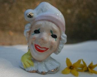 Vintage Smiling Happy Clown or Pierrot Figurine Japan Ceramic