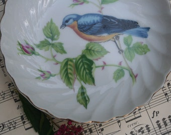 Vintage Lefton Exclusives Hand Painted China Blue Bird Pink Roses Bowl Dish Made in Japan Mid Century