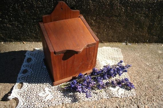 Vintage Rustic Wooden Small Box Handmade Storage Piece Coffee or Tea Holder or Salt Box Cellar Kitchen Organizer