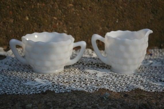 Hazel Atlas Cubist Pattern Milk Glass Cream and Sugar Set