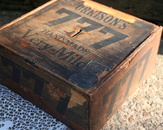 Very Old Vintage Orrison's Cigar Company Wood Box with Paper Covering Rustic Industrial Wonderful Graphics