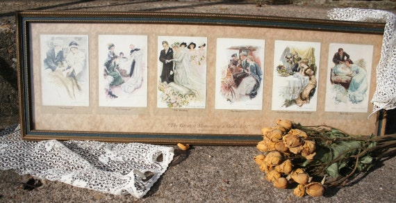 Vintage Harrison Fisher Framed Postcard Collection The