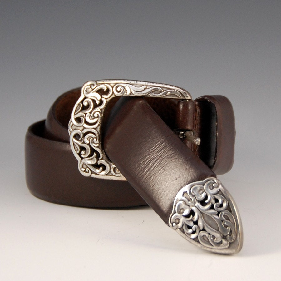 vintage brown leather belt with silver filigree buckle 1235