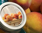 Market Fresh Peach Canning jar labels 2 inch round stickers for mason jars, for fruit jam and jelly preservation, wide mouth available