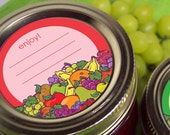 Enjoy Fruit Canning labels, 2 inch round stickers for mason jars, fruit preservation, jam and jelly