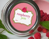 RED Raspberry Jam Canning Jar labels, 2 inch round mason jar stickers for fruit preservation