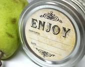 Vintage Enjoy canning jar labels, round mason jar stickers, fruit and vegetable preservation, jam and jelly jar labels