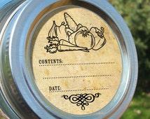 Vintage Vegetable canning jar labels, 2 inch round retro mason jar labels, food preservation stickers