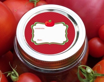 Cute Tomato canning jar labels, round red canning labels for mason jars, for salsa, sauce, vegetable preservation, mason jar labels