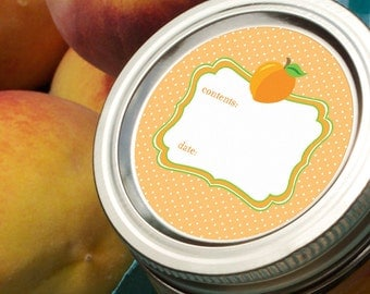Cute Peach Apricot canning jar labels, round mason jar labels, food preservation jar stickers, jam and jelly jar labels