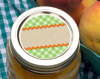 Scalloped Gingham Canning jar stickers, 2 inch round labels for fruit and vegetable preservation, jam and jelly