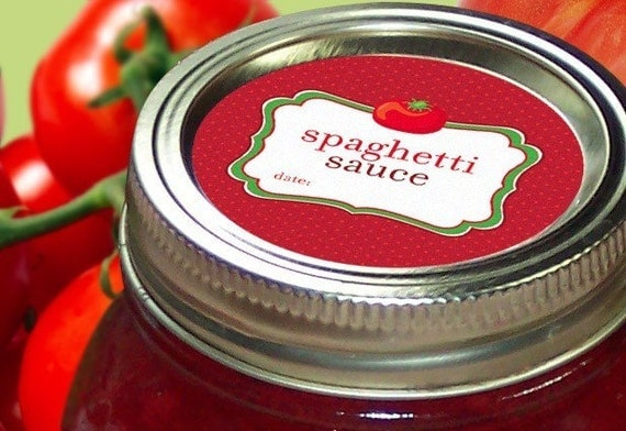Spaghetti Sauce Canning labels, round red stickers for mason jars, Tomatoes, food preservation
