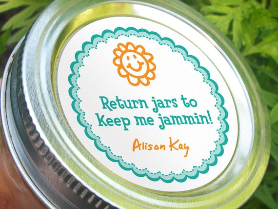 Return Jars to Keep Me Jammin, funny custom round stickers to get canning jars returned, 2 inch regular or wide mouth available