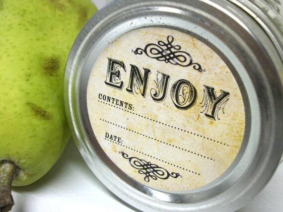 Vintage Enjoy canning jar labels, round mason jar stickers for fruit and vegetable preservation, jam and jelly jar labels