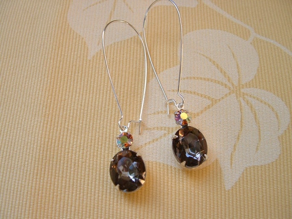 Reserved Corks Giveaway Prize  Silver Plated Vintage Smokey Grey Topaz and Aurora Borealis Earrings