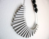 grey sticks and black olives  necklace - FREE SHIPPING