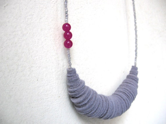 RESERVED FOR MASHA - grey and purple organic form necklace