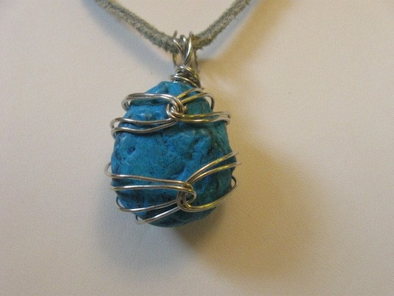Turquenite Wire-wrapped Pendant